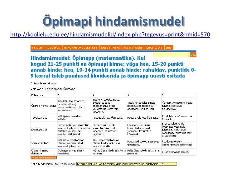 Õpimapi hindamismudelhttp://koolielu.edu.ee/hindamismudelid/index.php?tegevus=print&hmid=570
