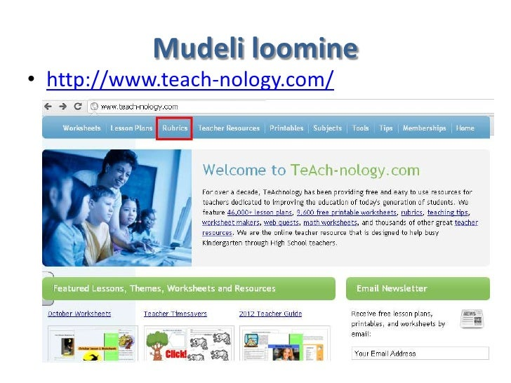 Mudeli loomine• http://www.teach-nology.com/