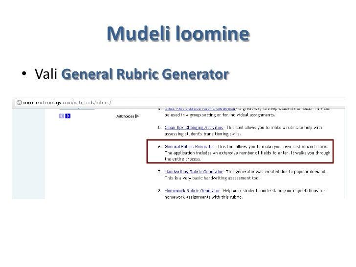 Mudeli loomine• Vali General Rubric Generator