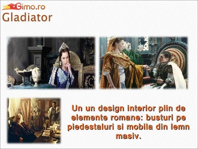Un un design interior plin de elemente romane: busturi pe piedestaluri si mobila din lemn masiv.
