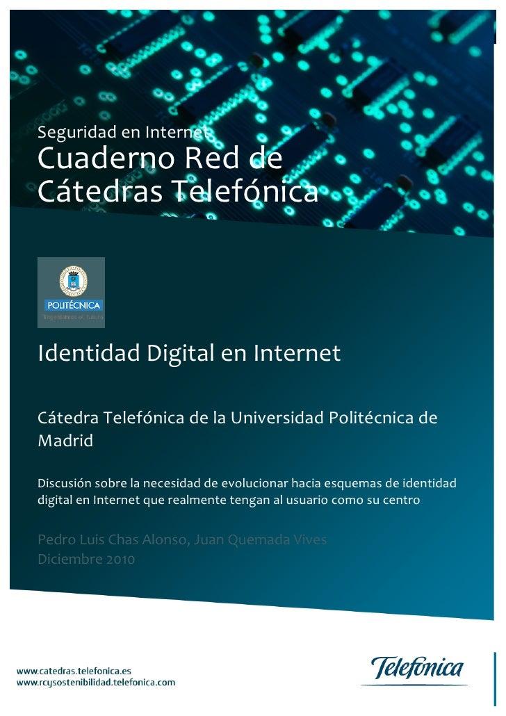 Cuaderno Red de Cátedras Telefónica    Identidad Digital en Internet                                  ...