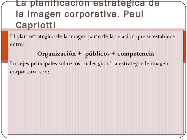 El plan estratégico de la imagen parte de la relación que se establece entre: Organización + públicos + competencia Los ej...