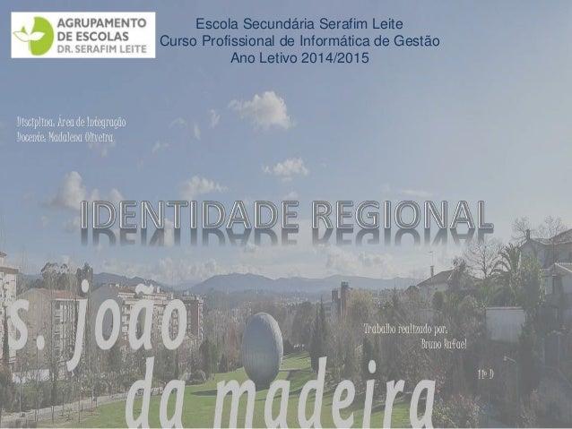 Escola Secundária Serafim Leite  Curso Profissional de Informática de Gestão  Ano Letivo 2014/2015  Disciplina: Área de In...