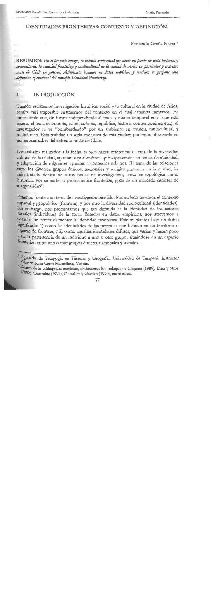 Identidades fronterizas. Contexto y... Revista Percepción 5 año 2001, Universidad de Tarapacá, Arica, Chile