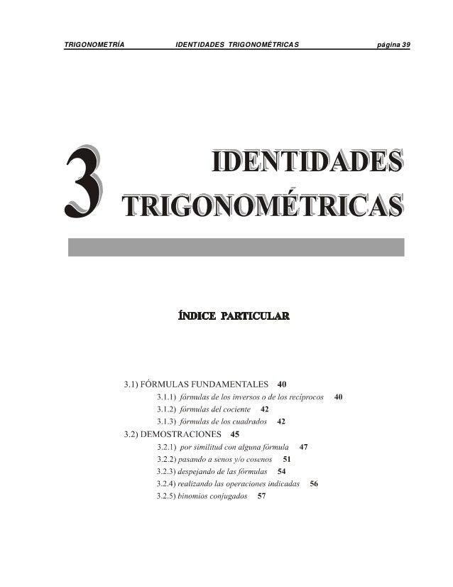 TRIGONOMETRÍA IDENTIDADES TRIGONOMÉTRICAS página 39