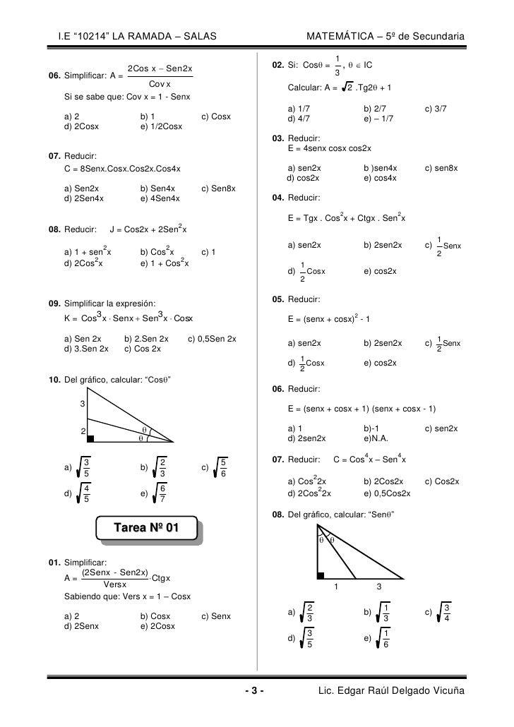 Identidades Trigonométricas Del ángulo Doble