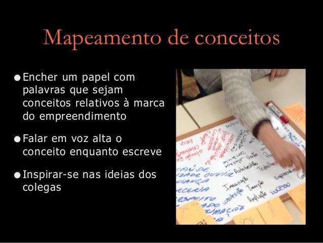 Mapeamento de conceitos •Encher um papel com palavras que sejam conceitos relativos à marca do empreendimento •Falar em vo...