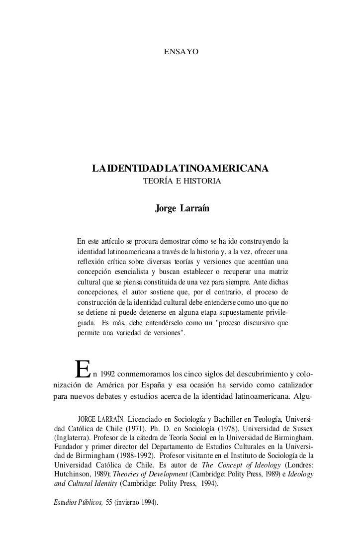 ENSAYO             LA IDENTIDAD LATINOAMERICANA                                TEORÍA E HISTORIA                          ...