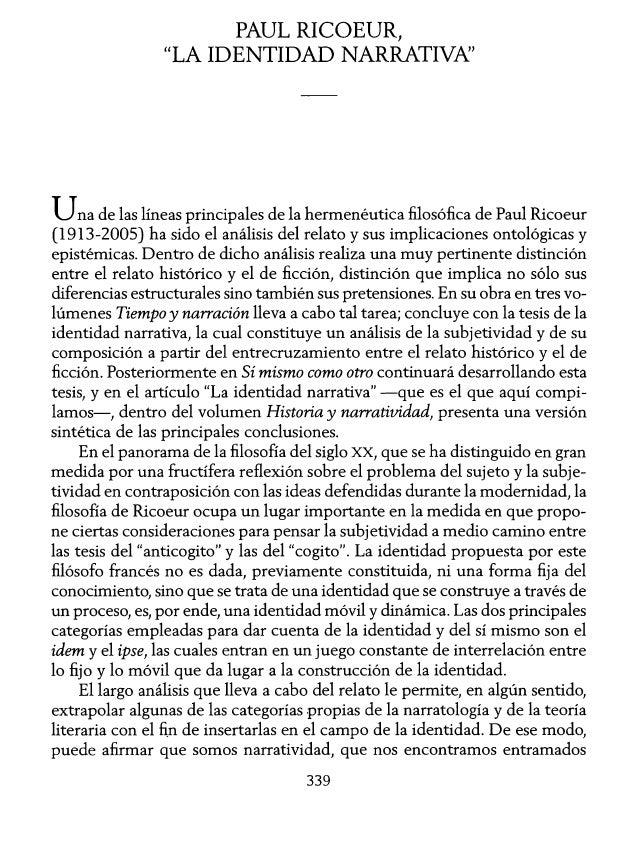 """PAUL RICOEUR,  """"LA IDENTIDAD NARRATIVN  Una de las líneas principales de la hermenêutica ñlosóñca de Paul Ricoeur (1913-20..."""