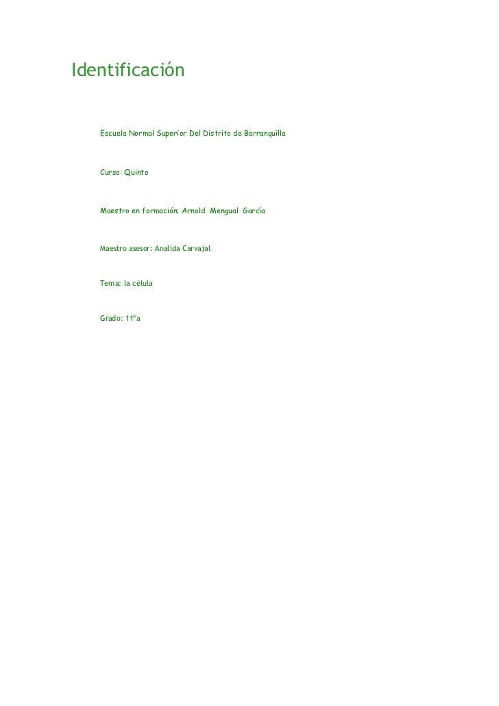 Identificación <br />Escuela Normal Superior Del Distrito de BarranquillaCurso: QuintoMaestro en formación; Arnold Meng...
