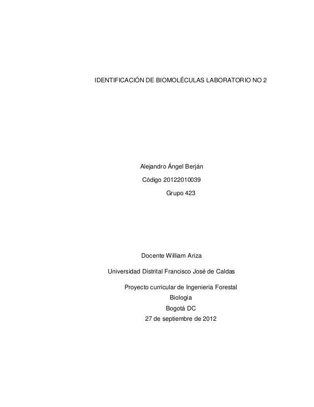 IDENTIFICACIÓN DE BIOMOLÉCULAS LABORATORIO NO 2 Alejandro Ángel Berján Código 20122010039 Grupo 423 Docente William Ariza ...