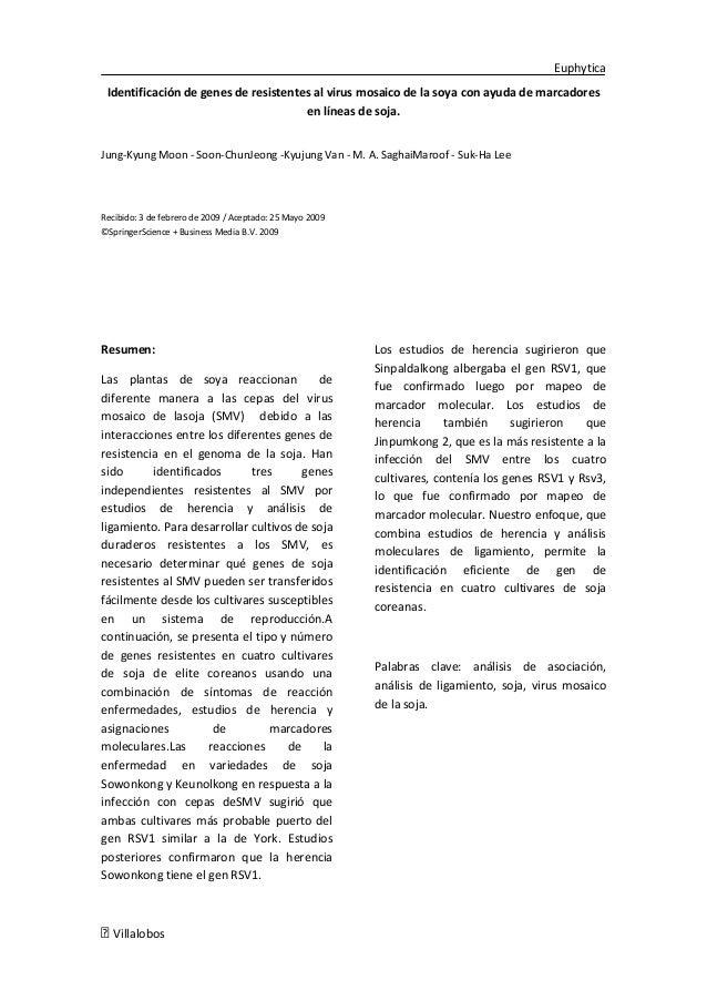 Euphytica Identificación de genes de resistentes al virus mosaico de la soya con ayuda de marcadores                      ...