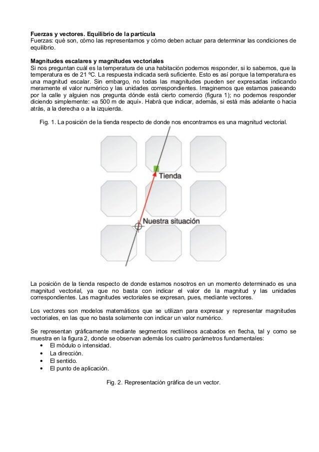 Fuerzas y vectores. Equilibrio de la partículaFuerzas: qué son, cómo las representamos y cómo deben actuar para determinar...