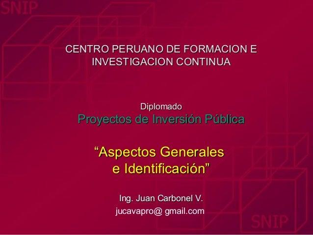 """CENTRO PERUANO DE FORMACION E    INVESTIGACION CONTINUA             Diplomado Proyectos de Inversión Pública    """"Aspectos ..."""