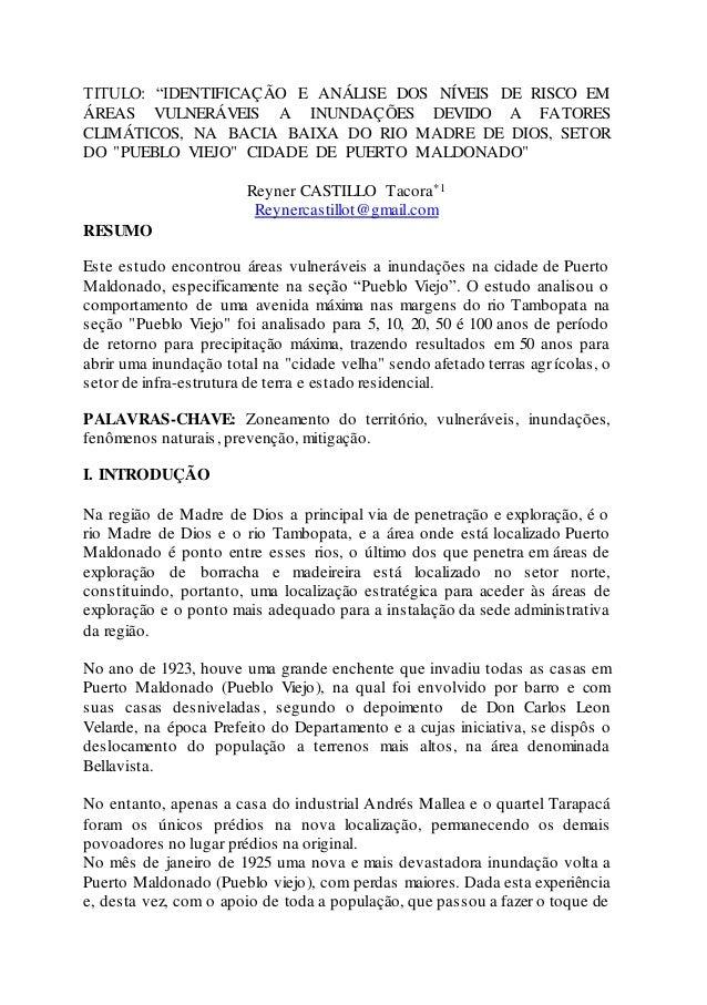 """TITULO: """"IDENTIFICAÇÃO E ANÁLISE DOS NÍVEIS DE RISCO EM ÁREAS VULNERÁVEIS A INUNDAÇÕES DEVIDO A FATORES CLIMÁTICOS, NA BAC..."""