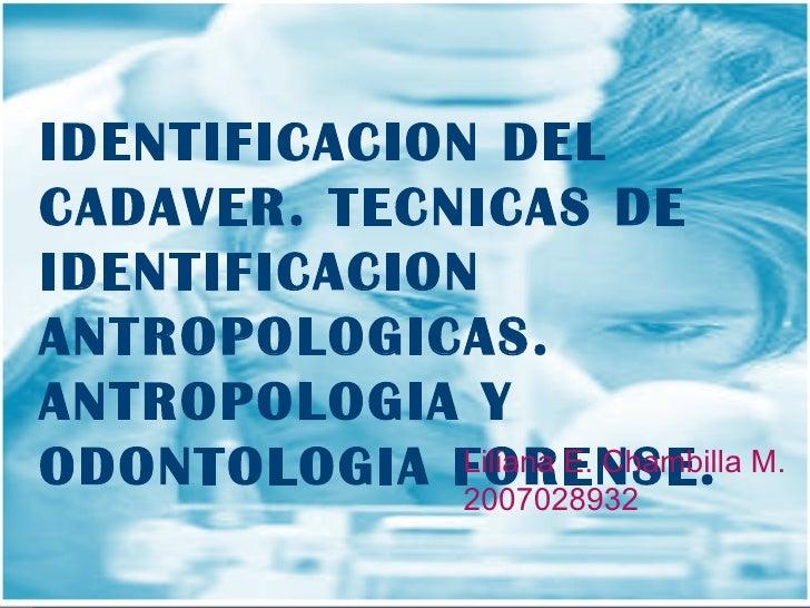 IDENTIFICACION DEL CADAVER. TECNICAS DE IDENTIFICACION ANTROPOLOGICAS. ANTROPOLOGIA Y ODONTOLOGIA FORENSE.   Liliana E. Ch...
