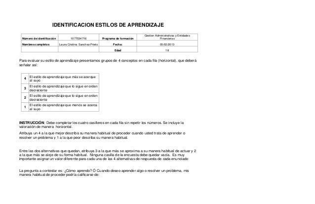 IDENTIFICACION ESTILOS DE APRENDIZAJE                                                                                    G...