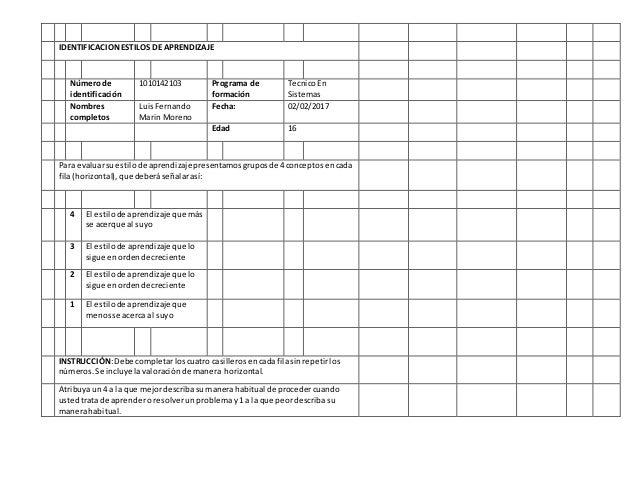 IDENTIFICACIONESTILOS DE APRENDIZAJE Númerode identificación 1010142103 Programa de formación TecnicoEn Sistemas Nombres c...