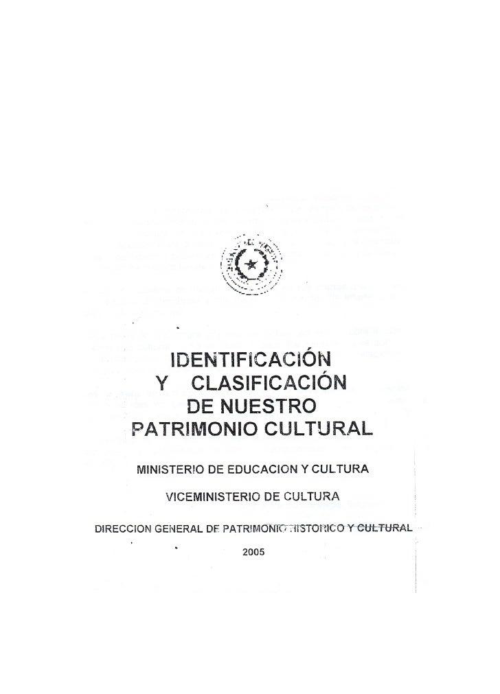 Identificacion Y Clasificacion De Nuestro Patrimonio Cultural 1