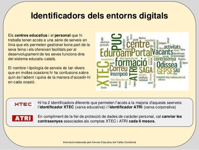 Identificadors dels entorns digitals  Els centres educatius i el personal que hi  treballa tenen accés a una sèrie de serv...