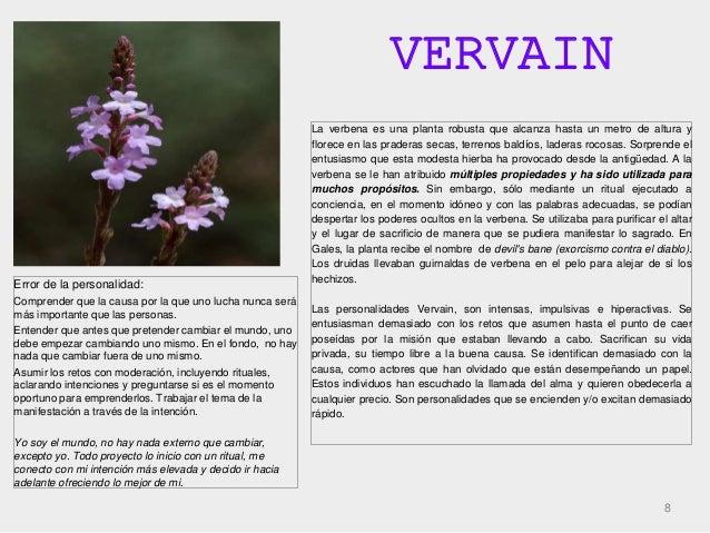 VERVAIN 8 La verbena es una planta robusta que alcanza hasta un metro de altura y florece en las praderas secas, terrenos ...