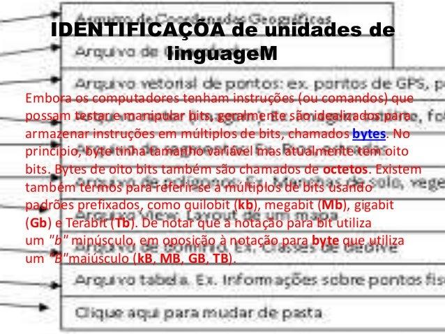IDENTIFICAÇÕA de unidades de linguageM Embora os computadores tenham instruções (ou comandos) que possam testar e manipula...