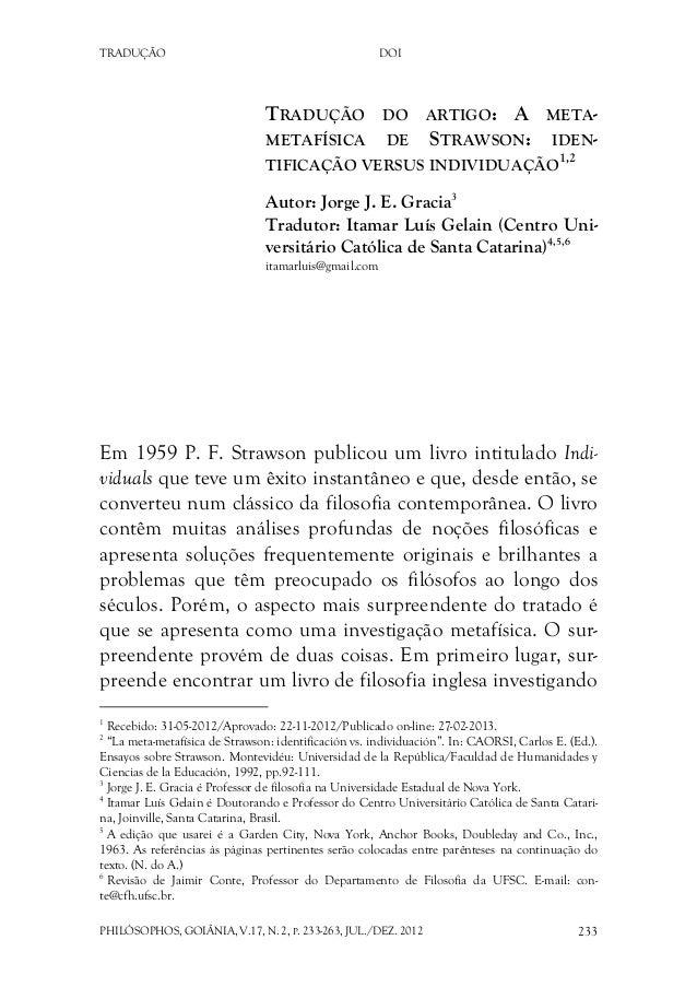 TRADUÇÃO DOI PHILÓSOPHOS, GOIÂNIA, V.17, N. 2, P. 233-263, JUL./DEZ. 2012 233 TRADUÇÃO DO ARTIGO: A META- METAFÍSICA DE ST...