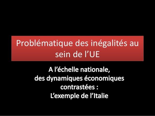 Problématique des inégalités ausein de l'UE