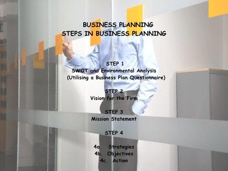 <ul><li>BUSINESS PLANNING </li></ul><ul><li>STEPS IN BUSINESS PLANNING </li></ul><ul><li>STEP 1 </li></ul><ul><li>SWOT and...
