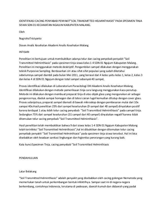 """IDENTIFIKASI CACING PENYABAB PENYAKIT""""SOIL TRANSMITTED HELMINTHIASIS"""" PADA SPESIMEN TINJA SISWA SDN 01 KECAMATAN NGAJUM KA..."""