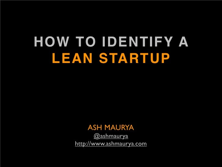 How to Identify a lean startup