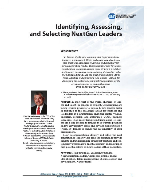 11©Business Expert Press 978-1-94784-320-2 (2018) Expert Insights www.businessexpertpress.com Identifying, Assessing, and...