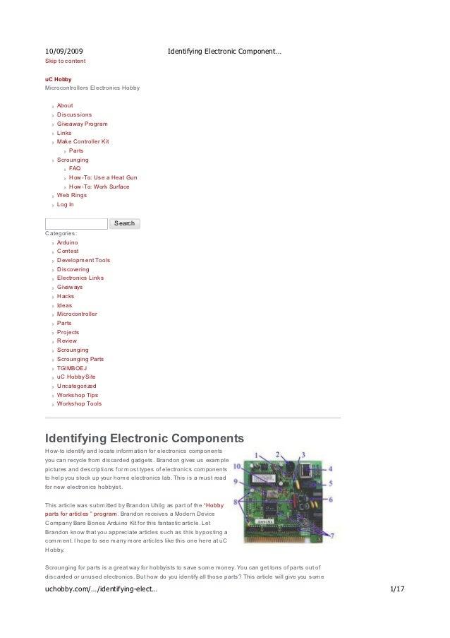 identifying electronic components u c hobby rh slideshare net Electronic Components Pictures Names Identifying Surface Mount Electronic Components