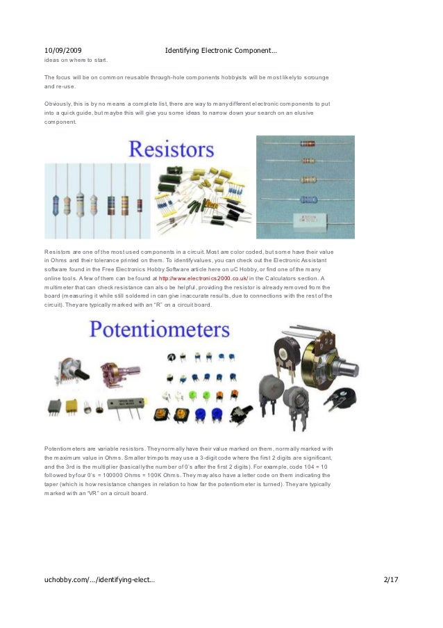 identifying electronic components u c hobby rh slideshare net Organizing Electronic Components Sample of Passive Electronic Components