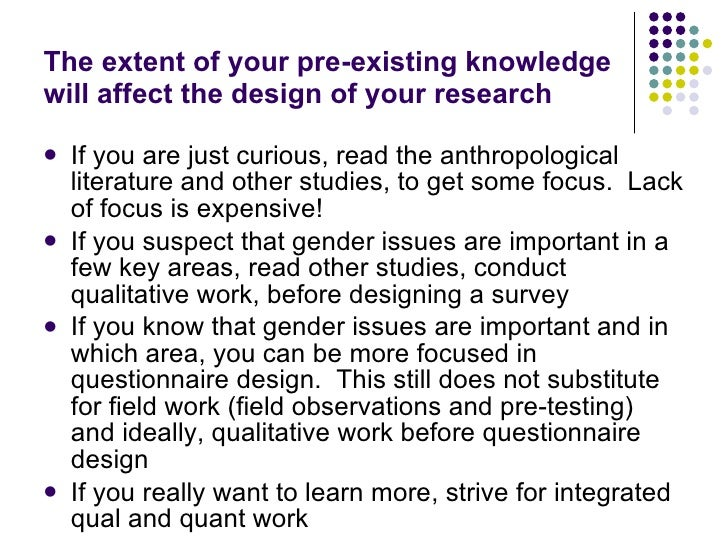 Identifying gender issues in your research for Household survey questionnaire design