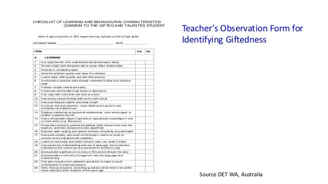 Children S Of Same Intellect 11 Checklist Learning And Behavioural Characteristics Common To The Gifted Talented