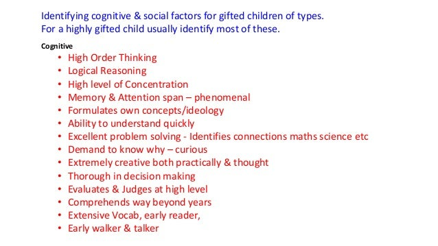 Identifying Cognitive Social Factors For Gifted Children