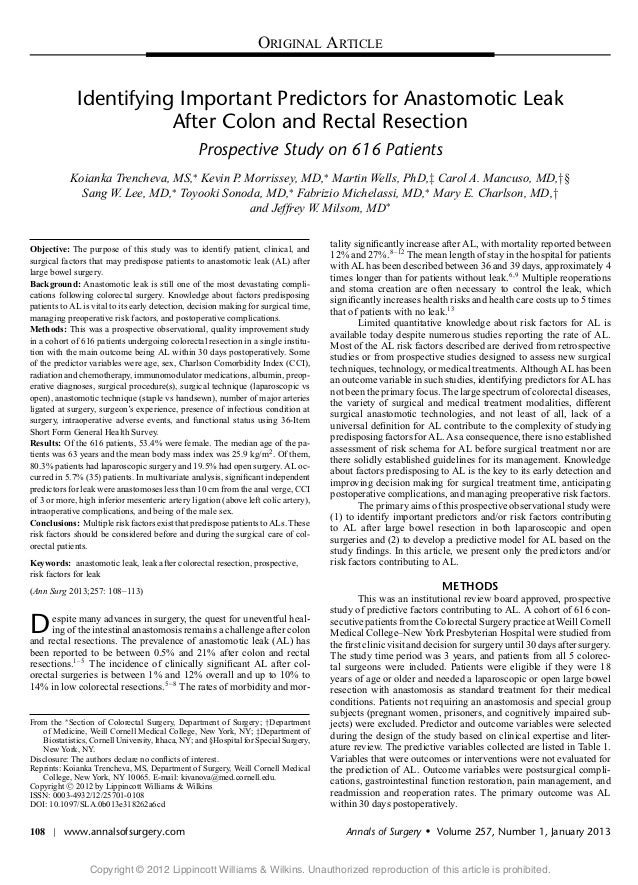 ORIGINAL ARTICLE              Identifying Important Predictors for Anastomotic Leak                         After Colon an...