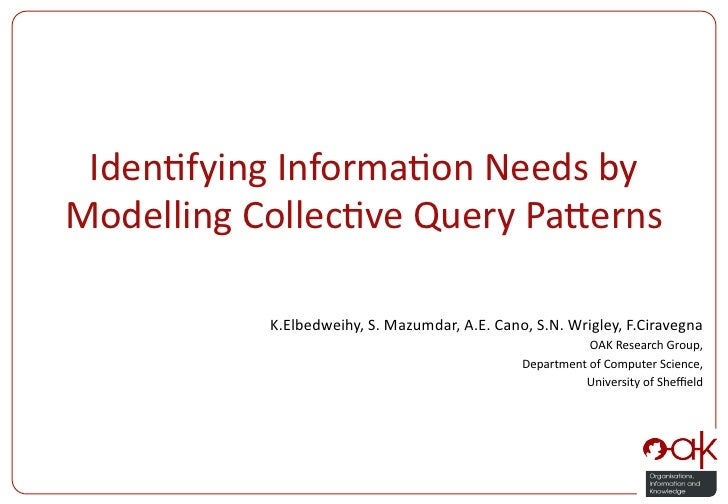 Iden%fying Informa%on Needs by Modelling Collec%ve Query Pa:erns                K.Elbedweihy, S. Mazum...