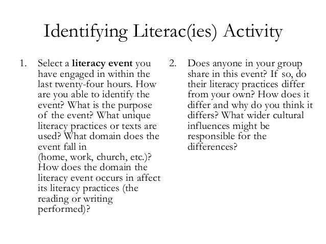 Identifying Literac(ies) Activity 1. Select a literacy event you have engaged in within the last twenty-four hours. How ar...
