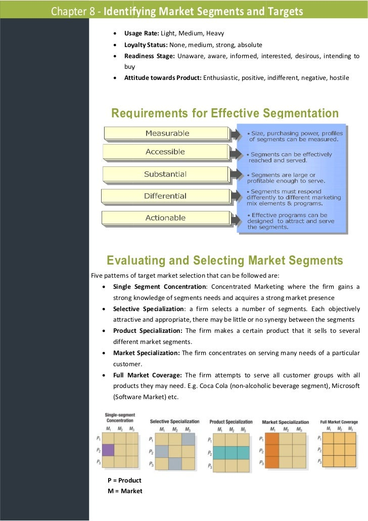 identifying market segments and targets essay Identifying different market segments is the first step in target marketing thus, market segmentation is the process of dividing the market into a number of groups that are mutually exclusive, while individuals exhibiting similar traits fall under one group.