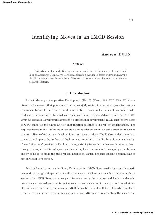 Identifying Moves in an IMCD SessionAndrew BOONAbstractThis article seeks to identify the various generic moves that may e...
