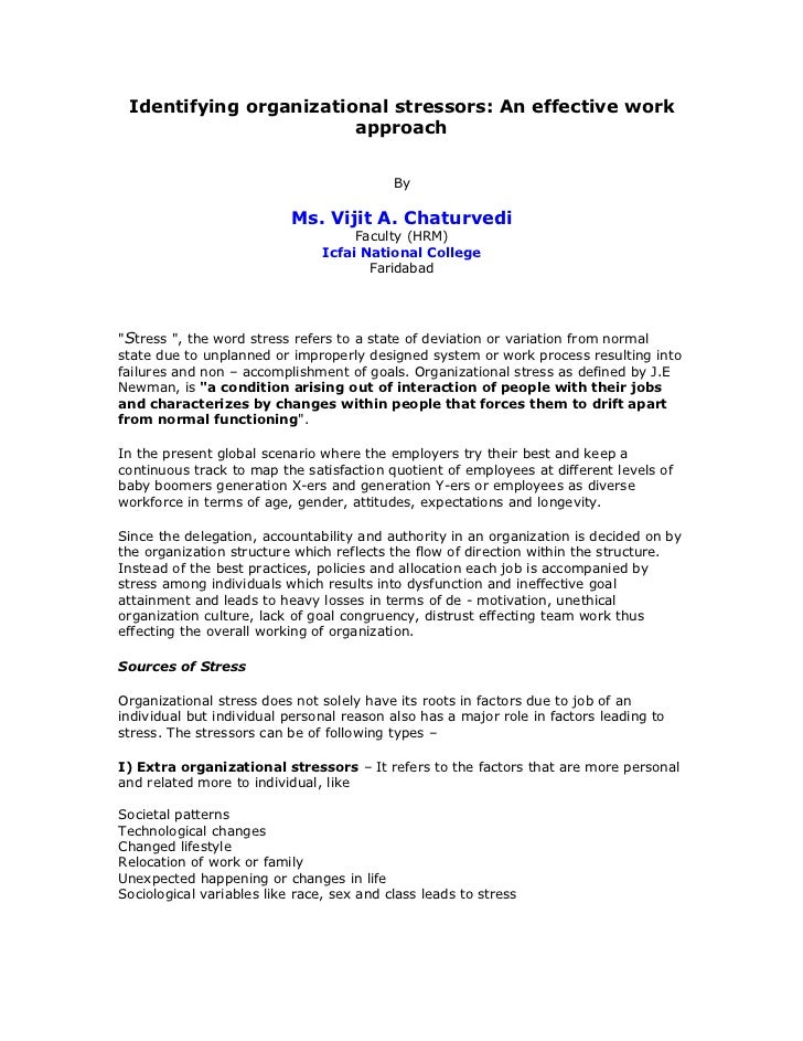 Identifying organizational stressors