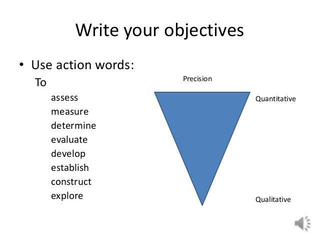 Write Your Objectives ...  How To Write An Objective