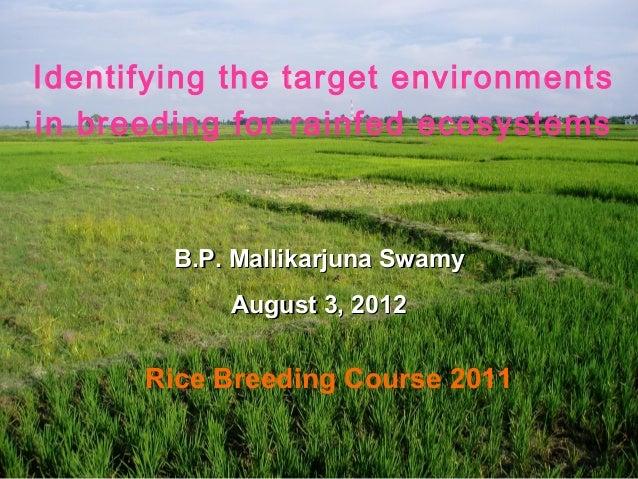 Identifying the target environmentsin breeding for rainfed ecosystems        B.P. Mallikarjuna Swamy            August 3, ...