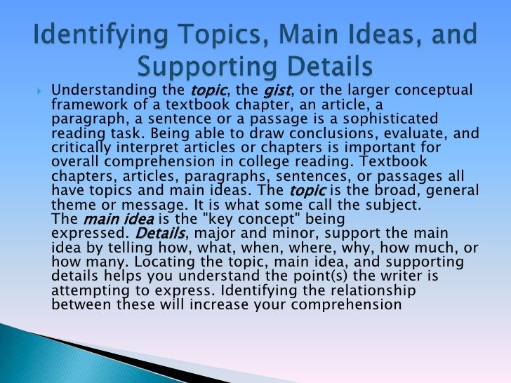 Identifying the topic/ ideas, coherence&unity in paragraph