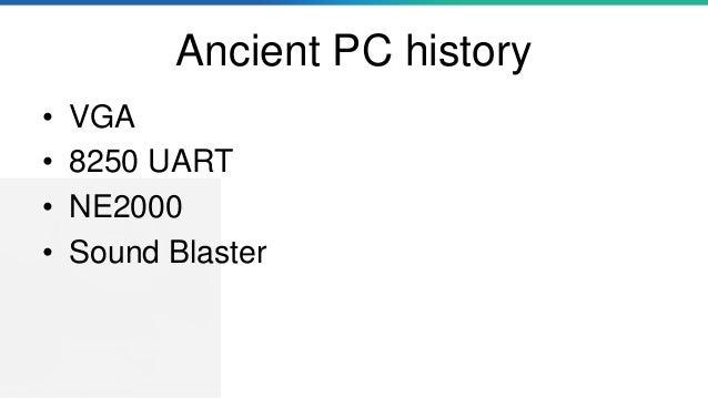 Ancient PC history • VGA • 8250 UART • NE2000 • Sound Blaster