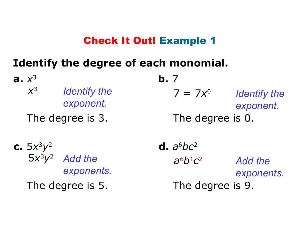 worksheet Degree Of A Monomial worksheet degree of a monomial gabrieltoz worksheets for identify polynomials ch14