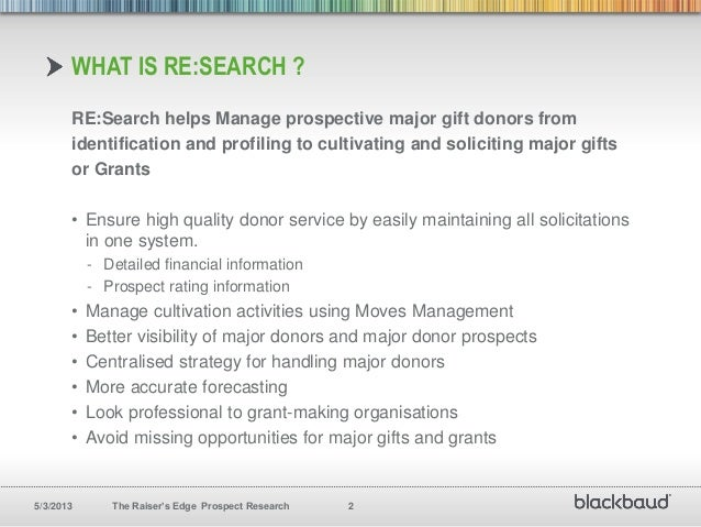 Identify Research And Cultivate Major Gifts With The