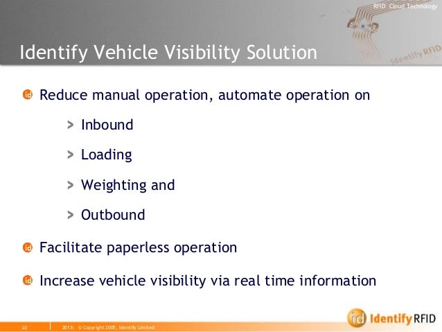 2013| © Copyright 2005, Identify Limited  RFID Cloud Technology  Identify Vehicle Visibility Solution Reduce manual operat...